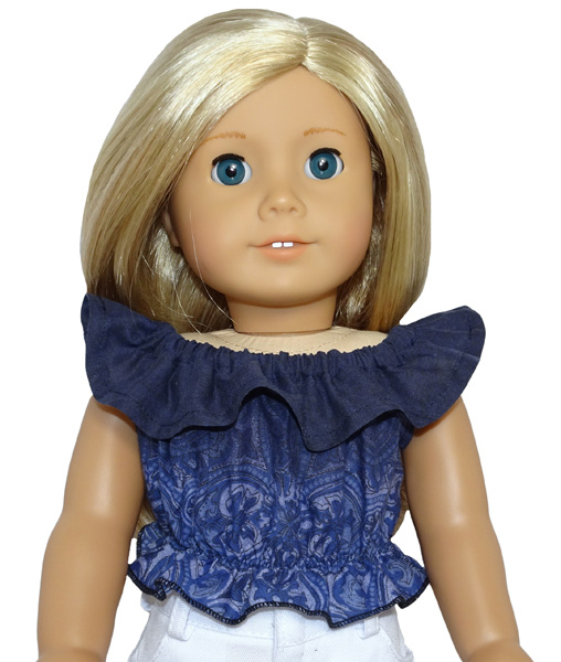 American Girl Frill top blue with frill doll clothes pattern