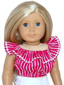 American Girl Frill top pink stripe doll clothes pattern