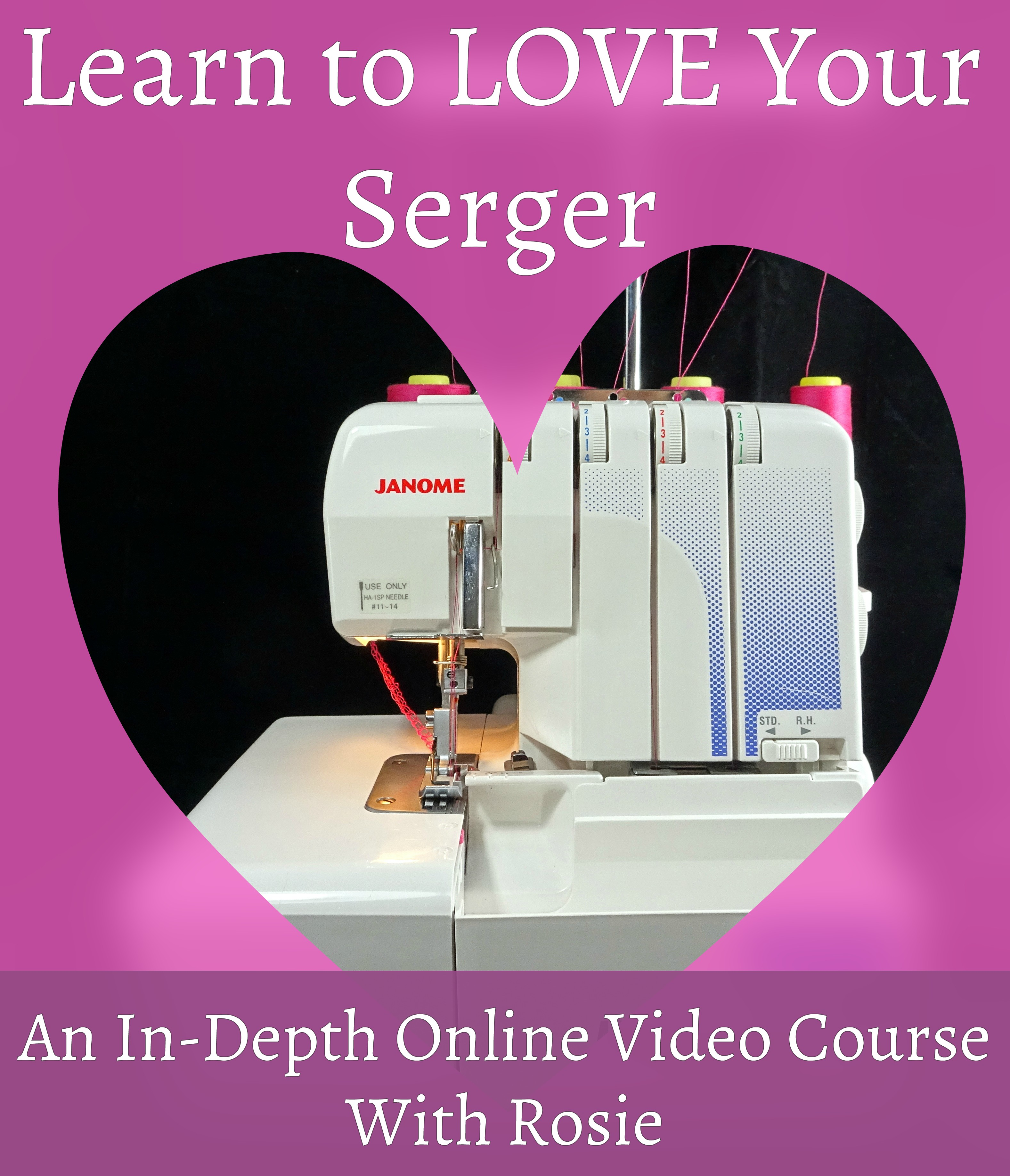 serger machine inside a heart | how to use a serger course | Rosies Doll Clothes Patterns