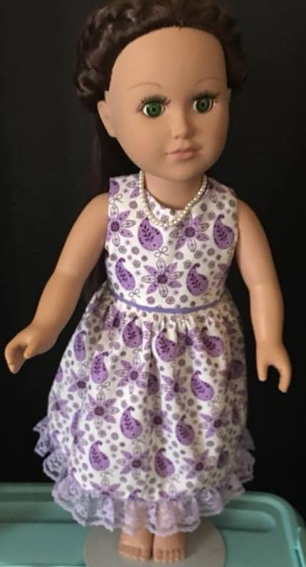 Jacqueline summer dress doll clothes pattern on serger