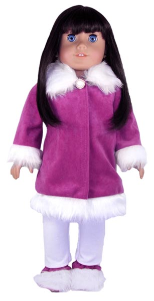 18 Inch American Girl Doll Clothes Patterns Fur Trimmed Jacket Purple and White
