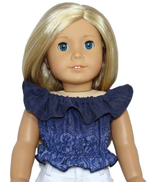 18 Inch American Girl Fun n Frilly Top Medium doll clothes pattern
