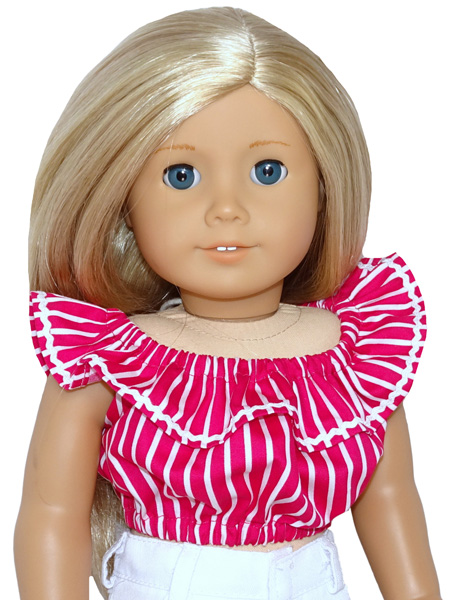 18 Inch American Girl Fun n Frilly Top Pink Stripe doll clothes pattern