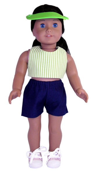18 Inch American Girl Green Crop Top and Sports Shorts pattern
