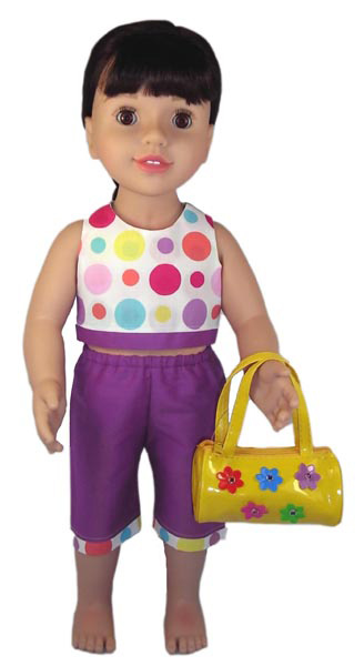 18 Inch American Girl Spots Crop Top and Sports Shorts pattern