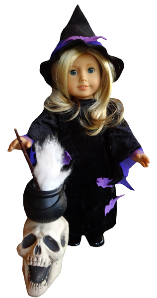 18 Inch American Girl Witches Costume and Skull