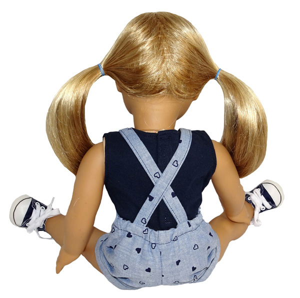 18 inch American Girl Overalls Doll Clothes Pattern back view