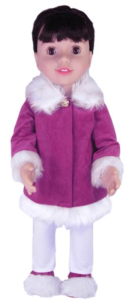 Australian Girl Doll Clothes Patterns Fur Trimmed Jacket Purple and White