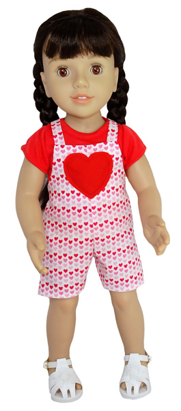Australian Girl Short Overalls with Heart Doll Clothes Pattern