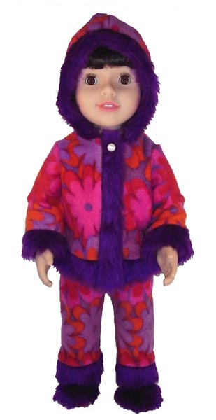 Australian Girl doll clothes pattern funky fur pink purple