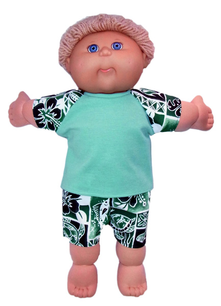 Cabbage Patch Green tshirt doll clothes pattern