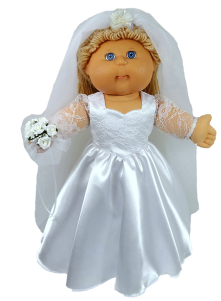 Cabbage Patch Kids Doll Clothes Pattern Wedding Dress Long Sleeve
