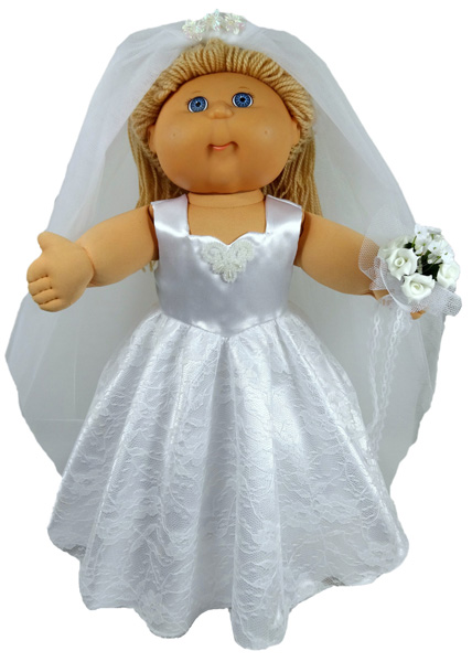 Cabbage Patch Kids Doll Clothes Pattern Wedding Dress Short Sleeve