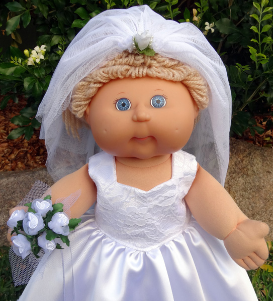 Cabbage Patch Kids Doll Clothes Pattern Wedding Dress with Bouquet