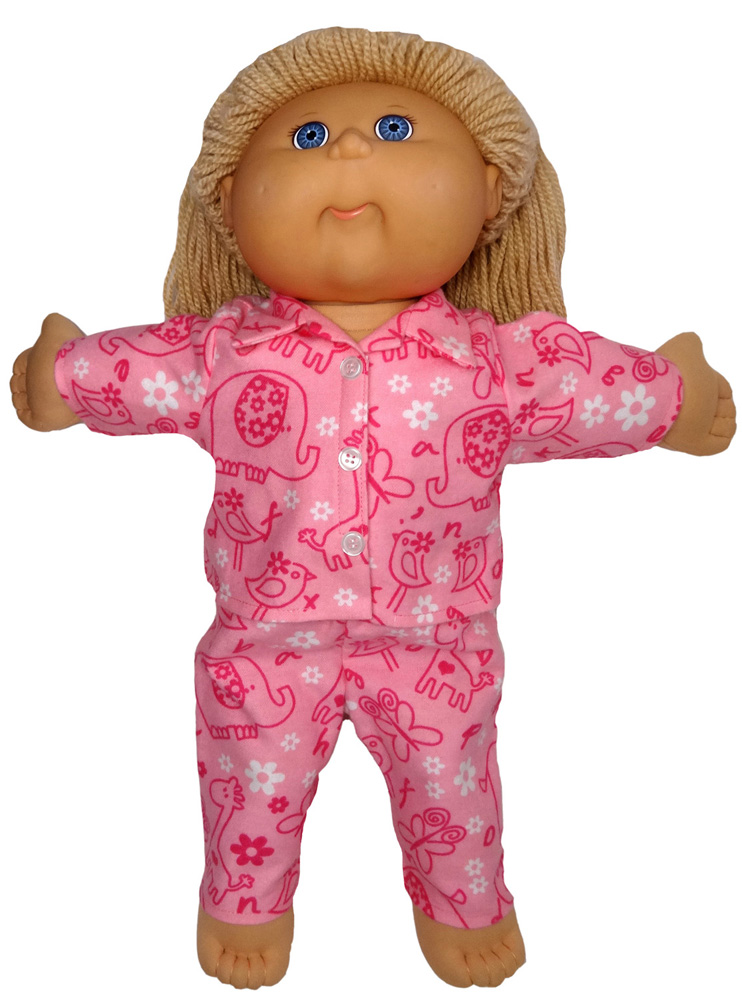 Cabbage Patch Pink Animals winter pyjamas doll clothes pattern