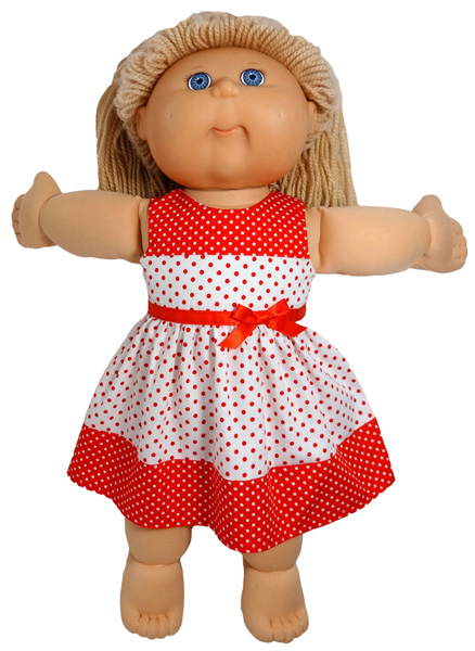Cabbage Patch Red Spot Christmas Dress doll clothes pattern