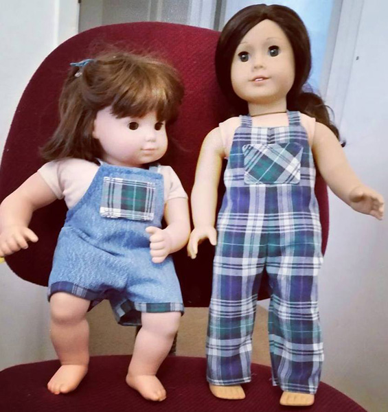 Laurie overalls doll clothes pattern