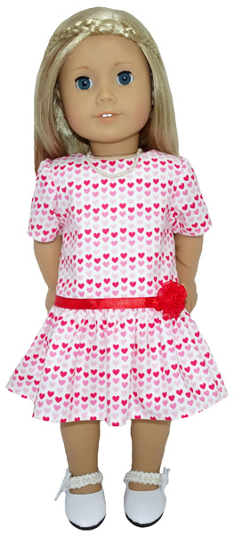 American Girl pattern drop waist dress with sleeves and gathers