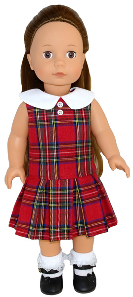 Gotz doll pattern drop waist dress with pleats and collar
