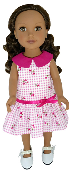 Journey Girl pattern drop waist dress with gathers and collar