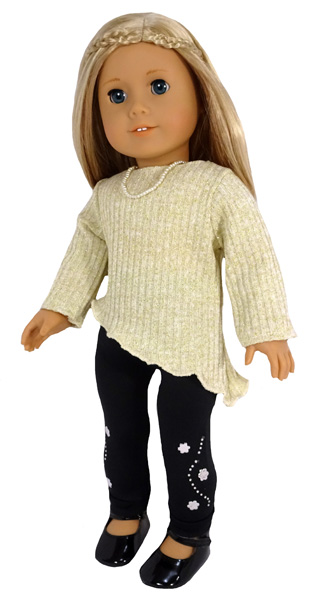 18 Inch Doll Clothes Pattern Trendy Transformable Top diagonal hem and long sleeves