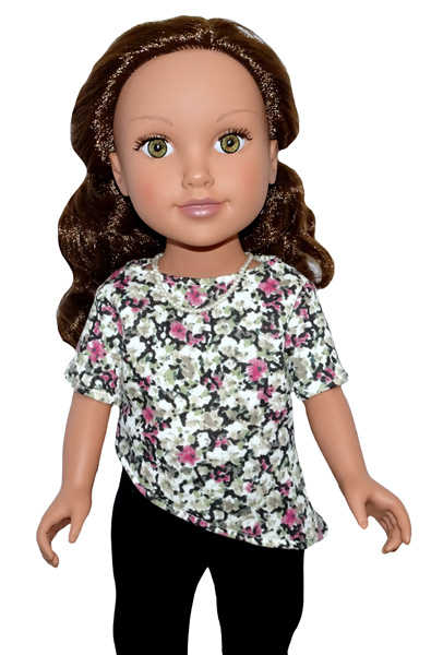18 Inch Doll Clothes Pattern Trendy Transformable Top diagonal hem and short sleeves