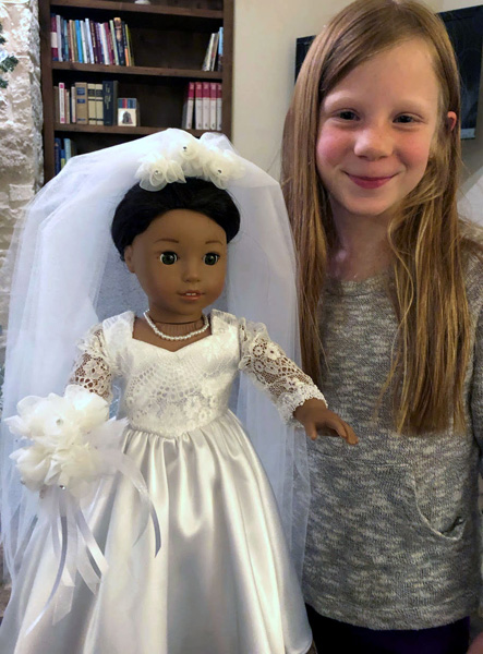 Sharon Thomas Wedding dress and granddaughter