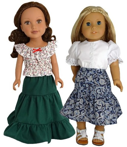 American Girl doll peasant skirt ruffles in seam